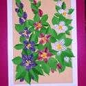 Klemátisz csokor -  falikép, Dekoráció, Otthon, lakberendezés, Kép, Falikép, Többszínű: lila, rózsaszín, fehér klemátiszból összeállított  virágcsokor 24x33 cm-es pink műanyag k..., Meska