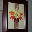 Naplemente - falikép, Dekoráció, Otthon, lakberendezés, Kép, Falikép, 18x22 cm.es falikép barna műanyag keretben. Egy speciális papírtechnikával, kontúrquillinggel készül..., Meska