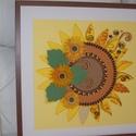 Napraforgó- falikép, Dekoráció, Esküvő, Kép, Nászajándék,  A napraforgó szerelmeseinek! Aranysárga színeivel ragyog, mint a nap. Kontúrquilling technikával ké..., Meska