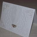 Képeslap -fehér esküvői, Esküvő, Meghívó, ültetőkártya, köszönőajándék, Nászajándék, Fehér gyöngyházfényű, 10x15 cm nagyságú, szétnyitható klasszikus, romantikus képeslap, üdvözlőlap, a..., Meska