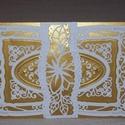 Képeslap - arany-fehér fekvő, Esküvő, Meghívó, ültetőkártya, köszönőajándék, Nászajándék, Fehér -arany gyöngyházfényű, 10x15 cm nagyságú, szétnyitható klasszikus, romantikus képeslap, üdvözl..., Meska