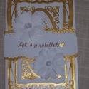 Képeslap fehér - arany álló, Esküvő, Meghívó, ültetőkártya, köszönőajándék, Nászajándék, Arany - fehér gyöngyházfényű, 10x15 cm nagyságú, szétnyitható klasszikus, romantikus képeslap, üdvöz..., Meska