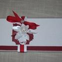 Képeslap- óbor, Esküvő, Meghívó, ültetőkártya, köszönőajándék, Nászajándék, Fehér - bordó  gyöngyházfényű, 10x15 cm nagyságú, szétnyitható klasszikus, romantikus képeslap, üdvö..., Meska