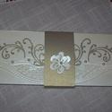 Képeslap nagy (10x24 cm)  törtfehér - óarany , Esküvő, Nászajándék, Meghívó, ültetőkártya, köszönőajándék, Papírművészet, Törtfehér - óarany gyöngyházfényű, 10x24 cm nagyságú, szétnyitható klasszikus, romantikus,képeslap,..., Meska