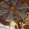 Party torta,  mini, négerbarna-óarany, Férfiaknak, Esküvő, Esküvői dekoráció, Nászajándék, 15 cm átmérőjű, 12 szeletes party torta, ajándék átadó torta. Férfias színben. Barátnőknek is ideáli..., Meska