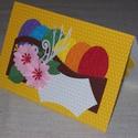 Húsvéti képeslap- sárga pöttyös alapon, Naptár, képeslap, album, Képeslap, levélpapír, Ajándékkísérő, 10x15 cm-es húsvéti képeslap, ajándékkísérő, üdvözlőkártya. Szabvány méretű borítékban postázható is..., Meska