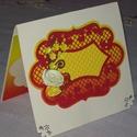 Húsvéti képeslap- piros csipkés, Naptár, képeslap, album, Képeslap, levélpapír, Ajándékkísérő, 10x15 cm-es húsvéti képeslap, ajándékkísérő, üdvözlő kártya. Szabvány méretű borítékban postázható i..., Meska