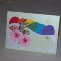 Húsvéti képeslap - szivárvány tojásokkal, Naptár, képeslap, album, Ajándékkísérő, Képeslap, levélpapír, 10x15 cm-es húsvéti képeslap, ajándékkísérő, üdvözlőkártya. Szabvány méretű borítékban postázható is..., Meska