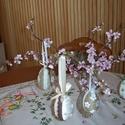 Húsvéti tojás tojásfa díszítésére- szett, Dekoráció, Ünnepi dekoráció, 8 cm-es (kb. kacsatojás méretű) hungarocell tojás kenderzsineggel bevonva, pamut csipkével,virággal,..., Meska
