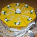 Party torta -  közepes napsárga, Esküvő, Dekoráció, Nászajándék, Ünnepi dekoráció, Papírművészet, Napsárga party torta, pénzajándék átadó torta szülinapra, névnapra, ballagásra, 20 cm -es átmérővel..., Meska