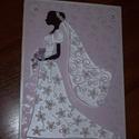 Nászajándék átadó kártya- menyasszonyos, Esküvő, Nászajándék, 15x21 cm-es esküvői nászajándék átadó kártya menyasszonyos motívummal, quilling technikával. Fehér g..., Meska