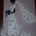 Nászajándák átadó kártya - menyasszonyos, lila rózsával, Esküvő, Nászajándék, 15x21 cm-es esküvői nászajándék átadó kártya menyasszonyos motívummal, quilling technikával. Fehér g..., Meska