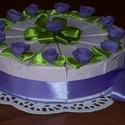 Party torta  - levendula mini, Esküvő, Esküvői dekoráció, Nászajándék, Romantikus lelkű hölgyeknek levendula színben, csillámos, rózsás alapkartonon. Születésnapra, névnap..., Meska