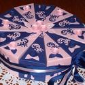 Party torta közepes - kék-rózsaszín, Esküvő, Esküvői dekoráció, Nászajándék, Ballagás, Elegáns, romantikus party torta, pénzajándék átadó torta kék-rózsaszín összeállításban, gyöngyházfén..., Meska