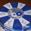 Party torta közepes- ezüstlakodalomra, Esküvő, Nászajándék, Esküvői dekoráció, Ezüstlakodalomra rendelt kék-fehér színösszeállítású, 20 cm -es átmérőjű party torta, de születésnap..., Meska