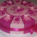 Party torta közepes pink-barack, Esküvő, Esküvői dekoráció, Nászajándék, Party torta, pénzajándék átadására szolgáló torta pink-barack romantikus színösszeállításban születé..., Meska