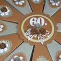 Party torta nagy -  arany árnyalatokban, Dekoráció, Esküvő, Ünnepi dekoráció, Nászajándék, Jubileumra készült 12 szeletes, szeletenként hátul nyitható, 25 cm átmérőjű party torta gyöngyházfén..., Meska
