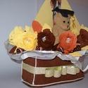 Csokicsokor hajó -ballagó fiúnak, Esküvő, Férfiaknak, Nászajándék, Ballagás, Kb. 35 cm magas, 20 cm széles hajó alapon 12 szálból álló, hajótestre épített csokicsokor kompozíció..., Meska