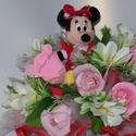 Csokicsokor- Minnie egeres, Dekoráció, Csokor, Eredetileg ovis ballagásra készült Minnie egeres  csokicsokor Raffaellóval, 12 szál rózsából. Szülin..., Meska