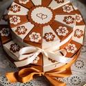 Pénzajándék átadó torta- emeletes, krém- karamell, Elegáns, romantikus, emeletes party torta, pénza...