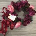 Ünnepi virágkorona, Esküvő, Ruha, divat, cipő, Hajdísz, ruhadísz, Hajbavaló, Virágkötés, Minőségi selyemvirágból és selyemszalagból készült virágkorona.   Átmérője 20 cm, körülbelül 200 g...., Meska