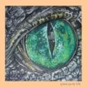 Zöld szem, Képzőművészet, Otthon, lakberendezés, Festmény, Olajfestmény, Titokzatos zöld hüllő szem, amelyben a fények játszanak. 30x30 cm olajfestmény kasírozott vászon ala..., Meska