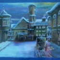 Ódon téli utca eredeti könyvillusztráció, Képzőművészet, Otthon, lakberendezés, Festmény, Festmény vegyes technika, Kék kartonlapra, vegyes technikával (akvarell, pasztell, tempera) készítettem ezt a mesekönyv illusz..., Meska