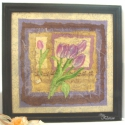 Tulipános kép fekete kerettel, Képzőművészet, Otthon, lakberendezés, Dekoráció, Falikép, Dekupázs technikával készült hangulatos, tulipánokat ábrázoló kép. A kép és a kerete is lakkozott, e..., Meska