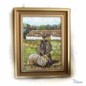 Pásztor birkával eredeti olajfestmény, Képzőművészet, Otthon, lakberendezés, Festmény, Olajfestmény, Hazatértek a sorszámozott olajfestményeim a kiállítási körútjukról. Ideje elengednem őket, ezek közü..., Meska