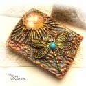 Arany-bronz kézitükör, Akár ékszerként is hordható, 6 cm x 8 cm-es ki...