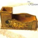 Gustav Klimt Csók című festményes névjegytartó, INGYEN POSTA!!! A névjegytartós asztali tolltart...