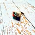Orgonit védelmező achát, ametiszt, azurit, korall, lapis lazulitürkiz ásvány gyűrű, Ékszer, Gyűrű, Medál, Orgonit védelmező achát golyóból, ametiszt, azurit, ásvány kockákból, lapisz lazuli ásvány lapból, s..., Meska