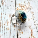 ORGONIT szem regeneráló kék turmalin, apatit, dalmata jáspis, hegyi kristály ásvány és gyanta gyűrű, Orgonit medált készítettem regeneráló kék tu...