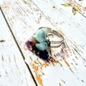 Orgonit védelmező achát, ametiszt, azurit, korall, lapis lazulitürkiz ásvány gyűrű, Ékszer, Gyűrű, Medál, Orgonit védelmező achát golyóból, ametiszt, apatit, azurit, lapisz lazuli ásvány törmelékből, alumín..., Meska