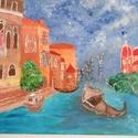 Velencei álom, Képzőművészet, Otthon, lakberendezés, Festmény, Akril, Festészet, Festett tárgyak, A kép 40 cm X 30 cm-es akril festmény, mely felidézi a velencei tájat, a lagúnák világát. Az akril ..., Meska