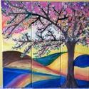 Cseresznyevirágzás <3, Képzőművészet, Otthon, lakberendezés, Festmény, Falikép, Festett tárgyak, Festészet, Három részes, fakeretre feszített vászonkép. Az olajfestmény vegyes technikával készült, melynek mé..., Meska