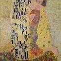 A csók, Képzőművészet, Otthon, lakberendezés, Festmény, Falikép, Üvegművészet, A festmény egy 20 X 30 cm-es üveglapra készült, melyet Gustav Klimt : A csók című műve ihletett.  A..., Meska