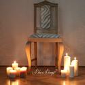 Egyedi design kárpitos szék -  vintage stílusban, Dekoráció, Otthon, lakberendezés, Baba-mama-gyerek, Esküvő, Mindenmás, Festett tárgyak, A régi csúnya barna kék huzatos széket átfestettük és újrakárpitoztuk, hogy egy modernebb enteriőrb..., Meska