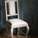 Egyedi design kárpitos szék -  vintage stílusban, Dekoráció, Otthon, lakberendezés, Baba-mama-gyerek, Esküvő, A régi csúnya barna kék huzatos széket átfestettük és újrakárpitoztuk, hogy egy modernebb enteriőrbe..., Meska