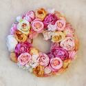 Vintage őszi rózsa koszorú - virág koszorú - virágkoszorú - ajtódísz, Otthon, lakberendezés, Dekoráció, Esküvő, Koszorú, Olyan koszorúra vágytam ami a karácsonyi időszakot leszámítva egész évben díszítheti az ajtót, így k..., Meska