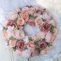 Vintage őszi selyemvirág kopogtató - virágkoszorú - selyemvirágos ajtódísz