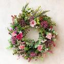 Vintage álom - selyemvirágos kopogtató virágkoszorú tavaszi ajtódísz, Otthon, lakberendezés, Baba-mama-gyerek, Dekoráció, Ajtódísz, kopogtató, Olyan koszorúra vágytam ami a karácsonyi időszakot leszámítva egész évben díszítheti az ajtót, így k..., Meska