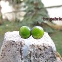 Cseppecske zöld - tűzzománc bedugós fülbevaló, pontfülbevaló, Apró, élénk zöld ékszerzománccal készült p...