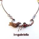 Rézerdő madárkája - vörösréz és tűzzománc nyaklánc - egyedi tervezésű kézműves ékszer