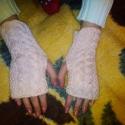 Kötött kézmelegítő, Ruha, divat, cipő, Kendő, sál, sapka, kesztyű, Kesztyű, Puha, praktikus kézi kötésű halvány rózsaszín kézmelegítő. 20 cm hosszú, átlagos kézre ..., Meska
