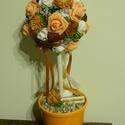 Virágfa ajándékba, Anyák Napjára, ballagásra vagy lakásdekornak, Dekoráció, Anyák napja, Otthon, lakberendezés, Asztaldísz, Virágkötés, 40 cm magas virágfa, selyemvirág és száraz termések kompozíciója kerámia kaspóban.  A virággömb 14 ..., Meska