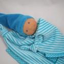 Rongyibaba  névhímzéssel - Alvókendő kisfiúknak, Baba-mama-gyerek, Játék, Baba játék, Baba, babaház, Baba-és bábkészítés, Varrás, Ez a Waldorf jellegű alvómanó a legkisebbeknek készült pihe-puha bébiplüss anyagból. Bababiztos, ar..., Meska