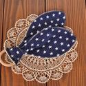 Nyuszifüles rágóka babáknak - kék alapon fehér csillagok, Baba-mama-gyerek, Baba-mama kellék, Varrás, Nyuszifül formájú, puha pamutból és baby velúrból készült rágóka. A fa és a textil dörzsöli a babaí..., Meska