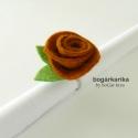Rózsa gyűrű - rozsda barna, Ékszer, óra, Gyűrű, A gyűrű alapja állítható, a rózsa mérete levéllel együtt kb. 3x4 cm, magassága kb. 2 cm.  Hozzá illő..., Meska