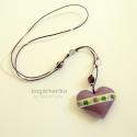 Lila szív nyaklánc zsinóron, Akciós termék: eredeti ára 1900 Ft, most 1500 F...